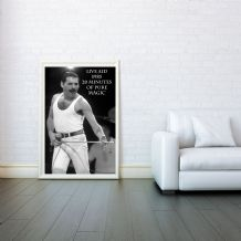 Freddie Mercury Mosaic, Live Aid Queen, Decorative Arts, Prints & Posters,Wall Art Print, Poster Any Size - Black and White Poster